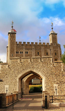 ramparts: The tower of London in the evening,  England