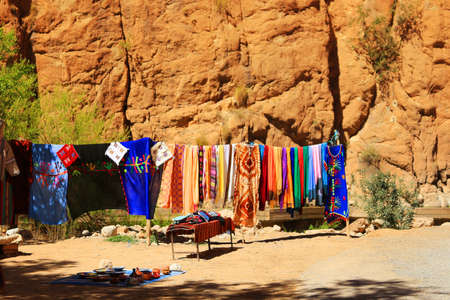 steep: Steep canyon walls in colorful Todra Gorge in Morocco Africa