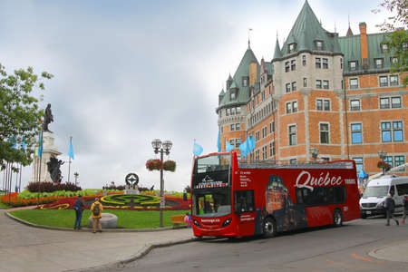 Quebec City, Canada - Sept. 14, 2016: Sightseeing bus parked in the historic part of Quebec City in Canada
