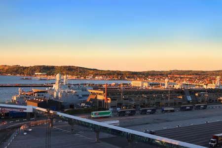 Frederikshavn - Denmark, October 4, 2016: Port of Frederikshavn, Denmark Scandinavia in early morning golden light