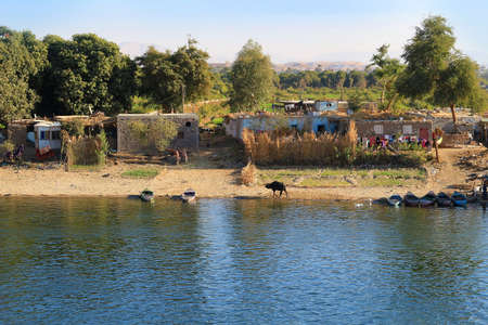 abodes: Poor Village along the shore of the Nile River in Egypt, Africa