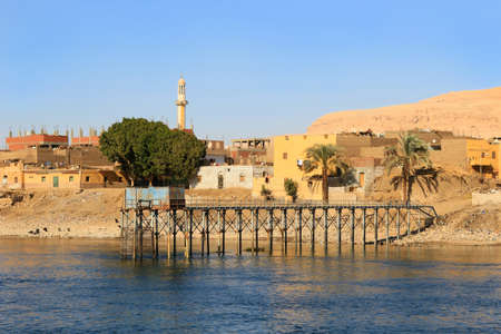abodes: Village along the shore of the Nile River in Egypt, Africa