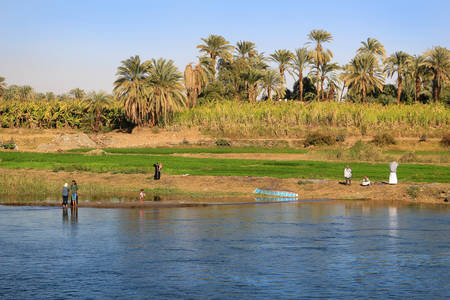 Nile River, Egypt, - February 3, 2016: People along the shore of the Nile River in Egypt, Africa