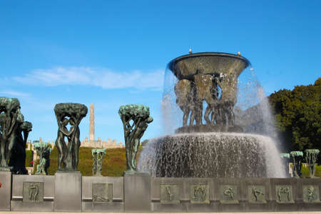 scandinavia: Oslo Norway - October 5, 2016: Vigeland Sculpture Park with fountain and statues  in Oslo, Norway, Scandinavia Editorial