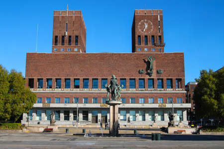 functionalism: City Hall in Oslo Norway that houses the city council Stock Photo