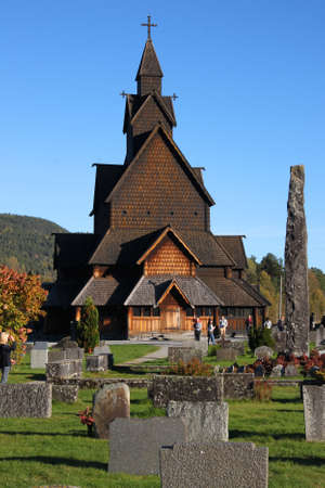 Notodden, Norway - October 5, 2016: Beautiful structure of Heddal stave church made of wood in the countryside of  Notodden, Telemark, Norway