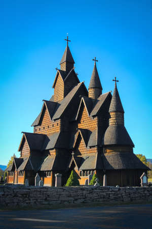 Beautiful structure of Heddal stave church made of wood in the countryside of  Notodden, Telemark, Norway