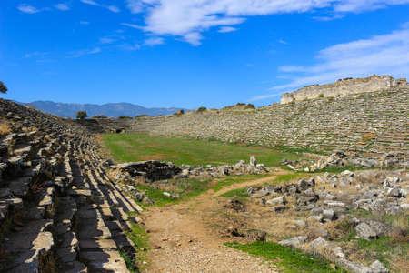 corinthian column: Aphrodisias Stadium  in Aphrodisias Turkey in ruins