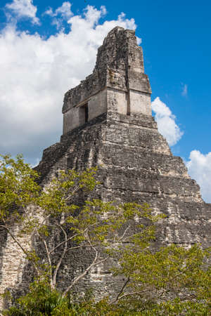 Temple I  also known as the Big Jaguar in Gran Plaza of the  Mayan city of  Tikal, Guatemala
