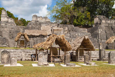 Tikal, Guatemala - March 2, 2017: Acropolis in Gran Plaza  in Mayan city of  Tikal, Guatemala Editorial