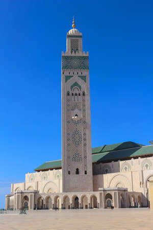 archways: Hassan II Mosque with one of the tallest minarets in the world  in Casablanca, Morocco