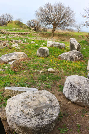 Ruins in the ancient city of Troy, in Turkey, Asia Minor Stock Photo