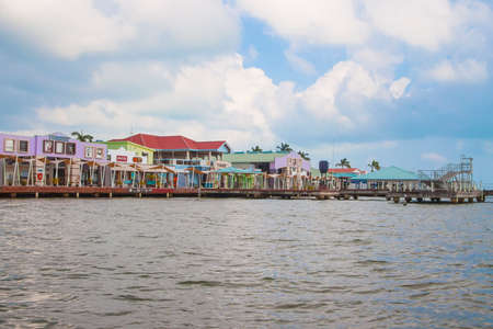 Belize City, Belize -  February 26, 2017: Along the shores of  Belize City in the Caribbean Sea