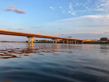 maritimes: Westmorland Bridge over the Saint John River at sunset near downtown Fredericton, New Brunswick in The Maritimes or Atlantic Canada