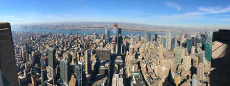 Panoramic Bird eye View of skyscrapers and downtown Manhattan, New York City, and New Jersey across the Hudson River, United States of America Sajtókép