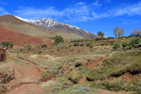 Middle Atlas Mountains in Morocco, Africa, showing contrasts in terrain, with snow