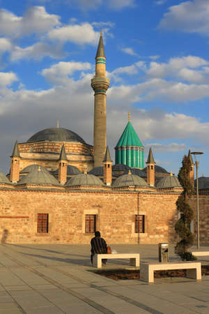 Mevlana mausoleum with domes and tower in Turkey Stock Photo