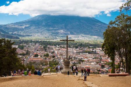 Antigua, Guatemala - 2017-03-05 : Cerro de la Cruz, a big cross on a hill overlooking the town of Antigua, in Guatemala Editorial