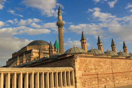 Mevlana mausoleum with domes and tower in Turkey Editorial