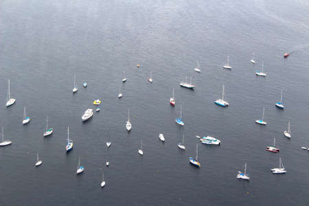 Bird eye view of sailboats and yachts anchored on the bay in Rio de Janeiro, Brazil, South America 版權商用圖片
