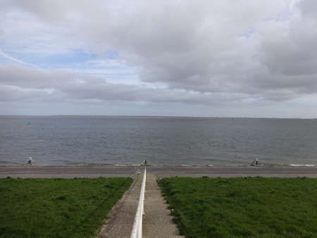 Photo of beautiful view on sea coast, filmed in overcast weather Stock Photo