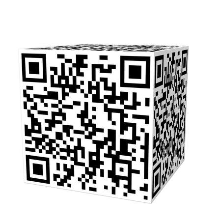 3d block with QR code, this code is from my website, but with 3 blocks erased so it won photo