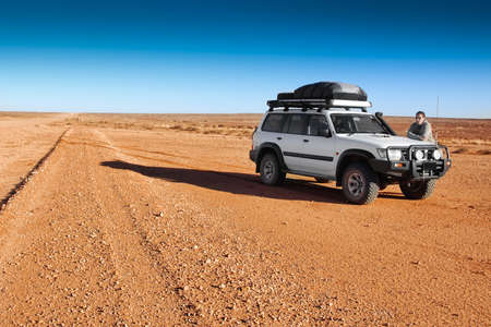 unsurfaced road: road to nowhere - typical outback highway in Australia, South Australia