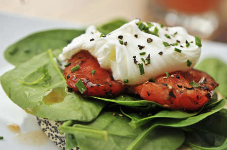 poached egg on capsicum and spinach photo
