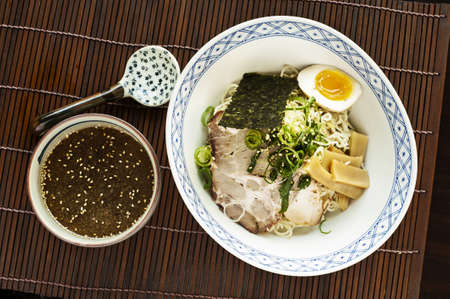 slurp: top down view of a ramen meal set