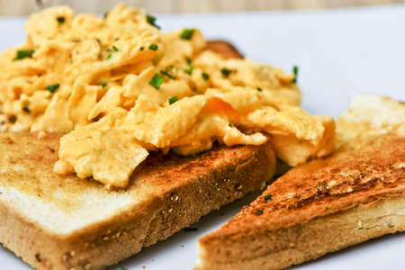 a classic, simple breakfast: eggs on toast. yum. Stock Photo