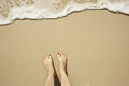 top down view of feet waiting for a wave to come in, oh the anticipation  copy space too