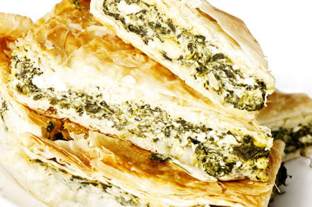 traditional greek spinach and feta slice, spanakopita photo