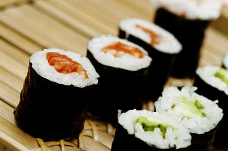 rolled sushi on a bamboo tray Stock Photo - 18208162