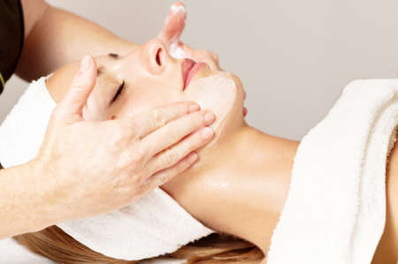 beauty salon face: facial beauty treatment Stock Photo