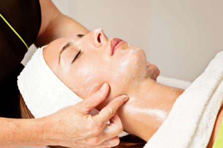 salon treatment: facial beauty treatment Stock Photo