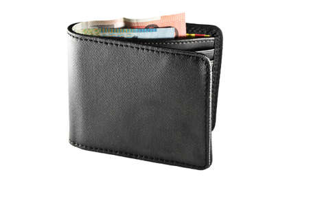 men s black wallet with money Stock Photo - 18518653