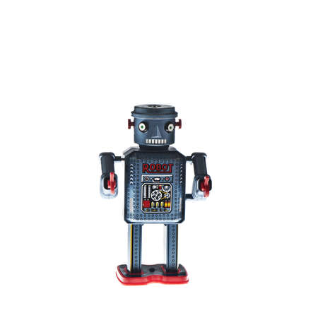 retro robot toy, isolated on white Stock Photo - 18518646