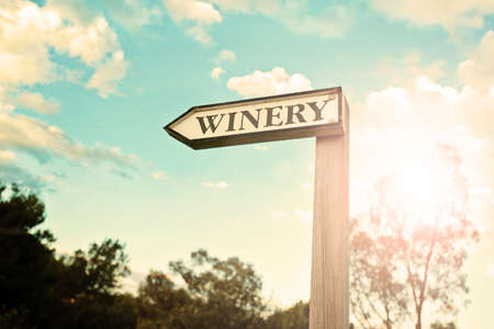 wooden authentic winery sign