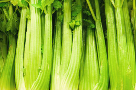 celery for sale in a fruit and veg shop