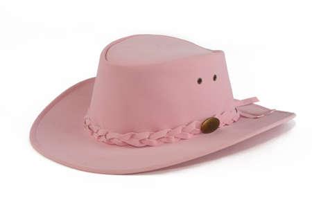 cowgirl hat: cute pink cowgirl sombrero, sobre fondo blanco Foto de archivo