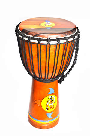 traditional african drum on white background, with painted motif photo