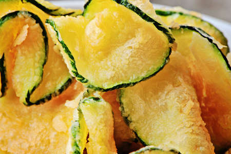 close up of zucchini chips