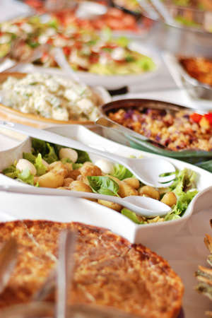 catered: buffet luncheon at a wedding function, blurred background Stock Photo