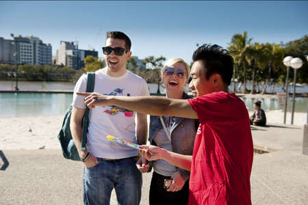 brisbane: tourists on a guided tour with a Brisbane Greeter Editorial
