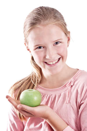 girl with green apple photo