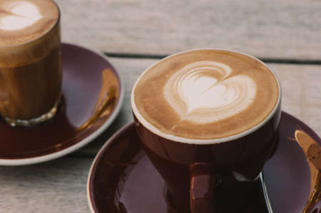 coffees: coffees, flat white and piccolo Stock Photo