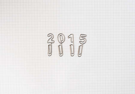 grid paper: 2015 written with paperclips on grid paper, overhead