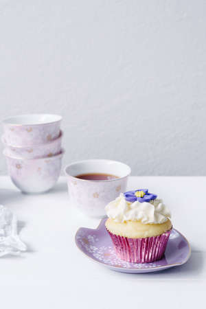 teaset: pretty pink and purple teaset with cupcake