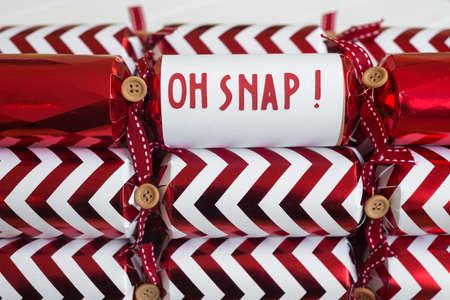 snap: christmas cracker with fun phrase Oh Snap! Stock Photo