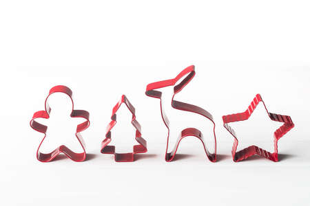 cookie cutters: xmas cookie cutters in a row